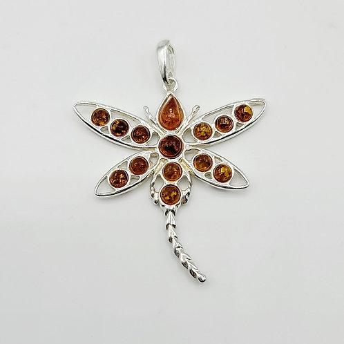 Amber Dragonfly Pendant
