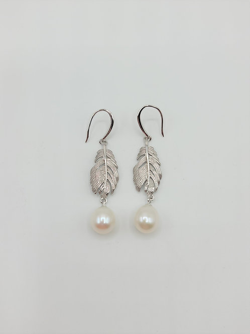 Feather with Freshwater Pearl Earrings