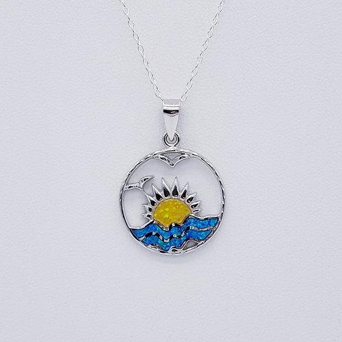 Lab-created Opal Sun & Waves Pendant