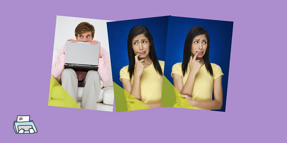 Three images of people appearing nervous