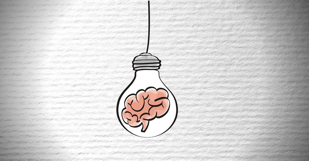 A lightbulb with a brain inside.