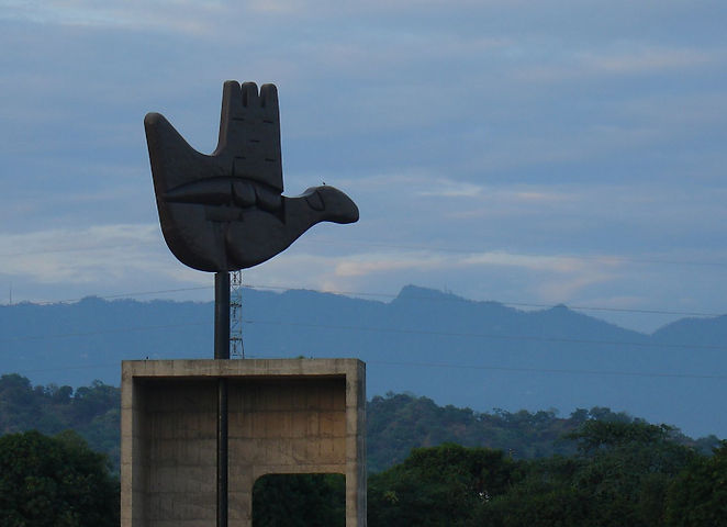 The Open Hand Monument, Chandigarh, India.