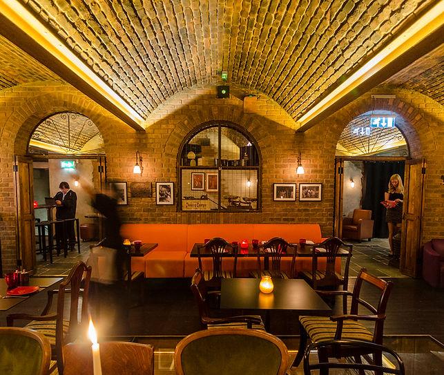 Copa De Cava, St Pauls London. Brick vaulted wine cellar inteior