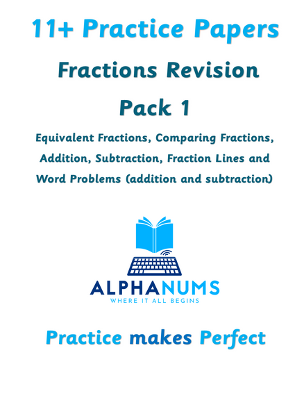 11+  Fractions revision Pack 1