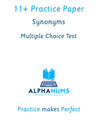 11 plus Synonyms Test1-Multiple choice
