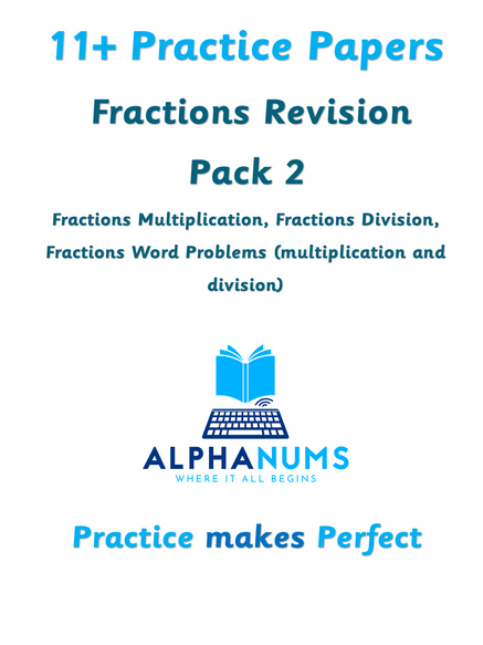 11+  Fractions revision Pack 2