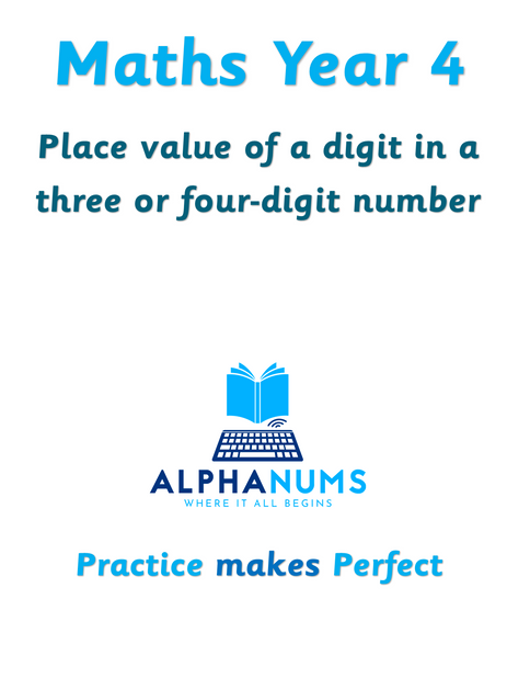 Recognising the place value of a digit-Year 4