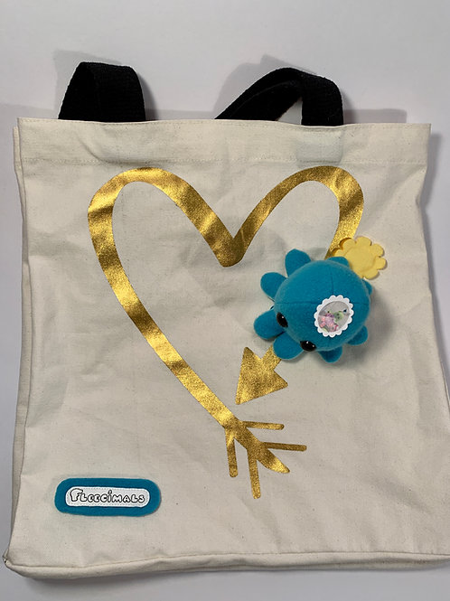 Gold and Teal Tote Bag with Detachable Squid