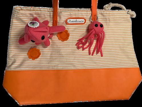 Orange Tote Bag with Detachable Squid