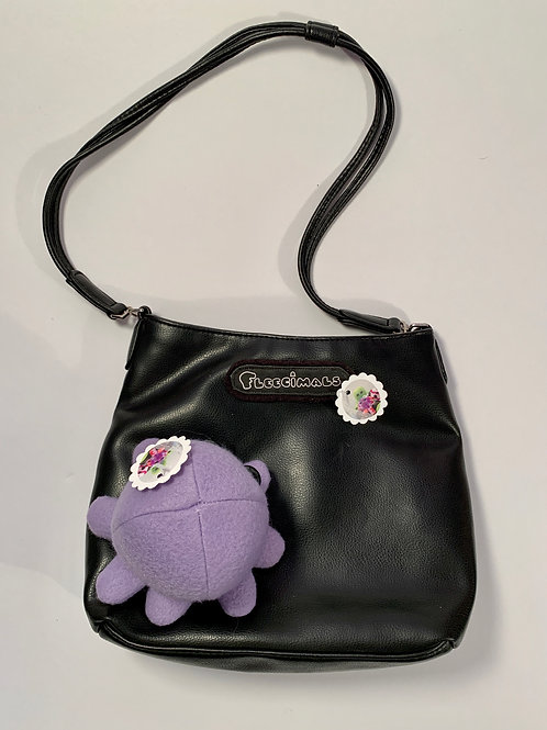 Black Leather like Purse with Detachable Octopus