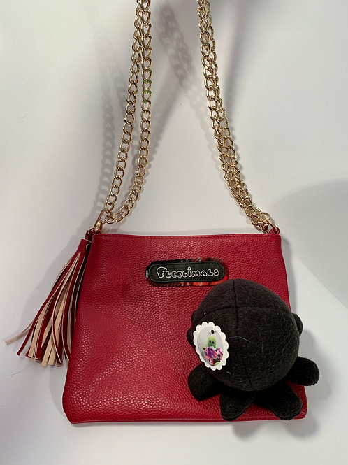 Red Leather like Clutch with Detachable Octopus