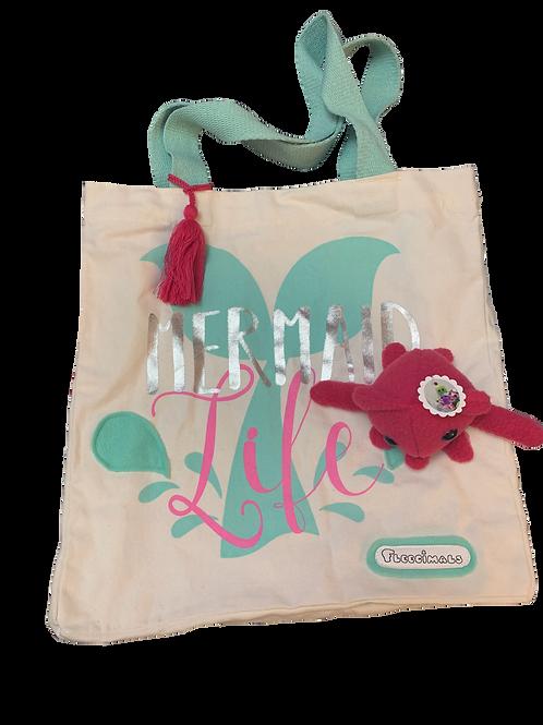 Teal and Magenta Squid Mermaid Tote Bag