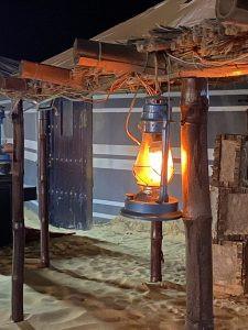 lantern hanging on pole