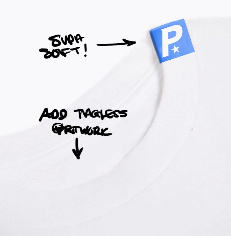 Poorstar Blue collar T-Shirt cut away