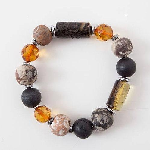 Shibumi bracelet with ceramic beads, amber and lava