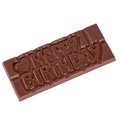 Tablette HAPPY BIRTHDAY à Personnaliser Choco Noir/Lait/Blanc ou Ruby et Topping