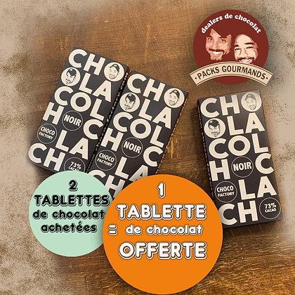 Pack 3 Tablettes de Chocolat Noir (2+1 Gratuite)