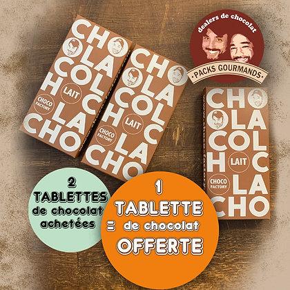 Pack 3 Tablettes de Chocolat au Lait (2+1 Gratuite)