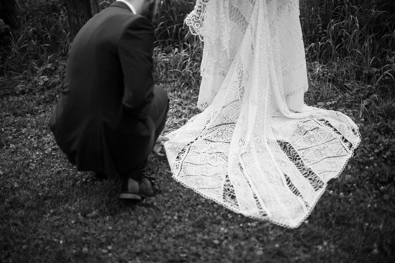 Vermont Groom Fixing Bride Dress