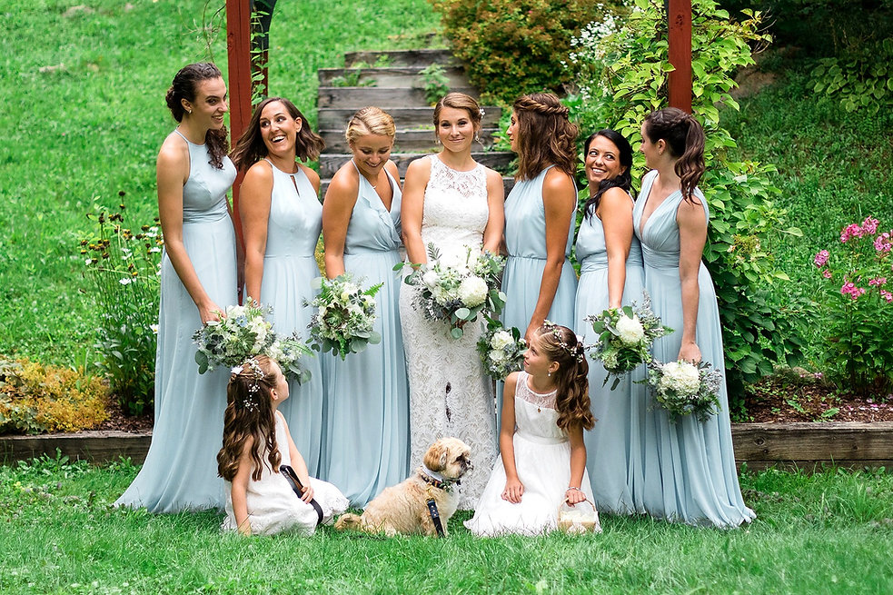 Bride and Bridesmaids with dog, Mountain