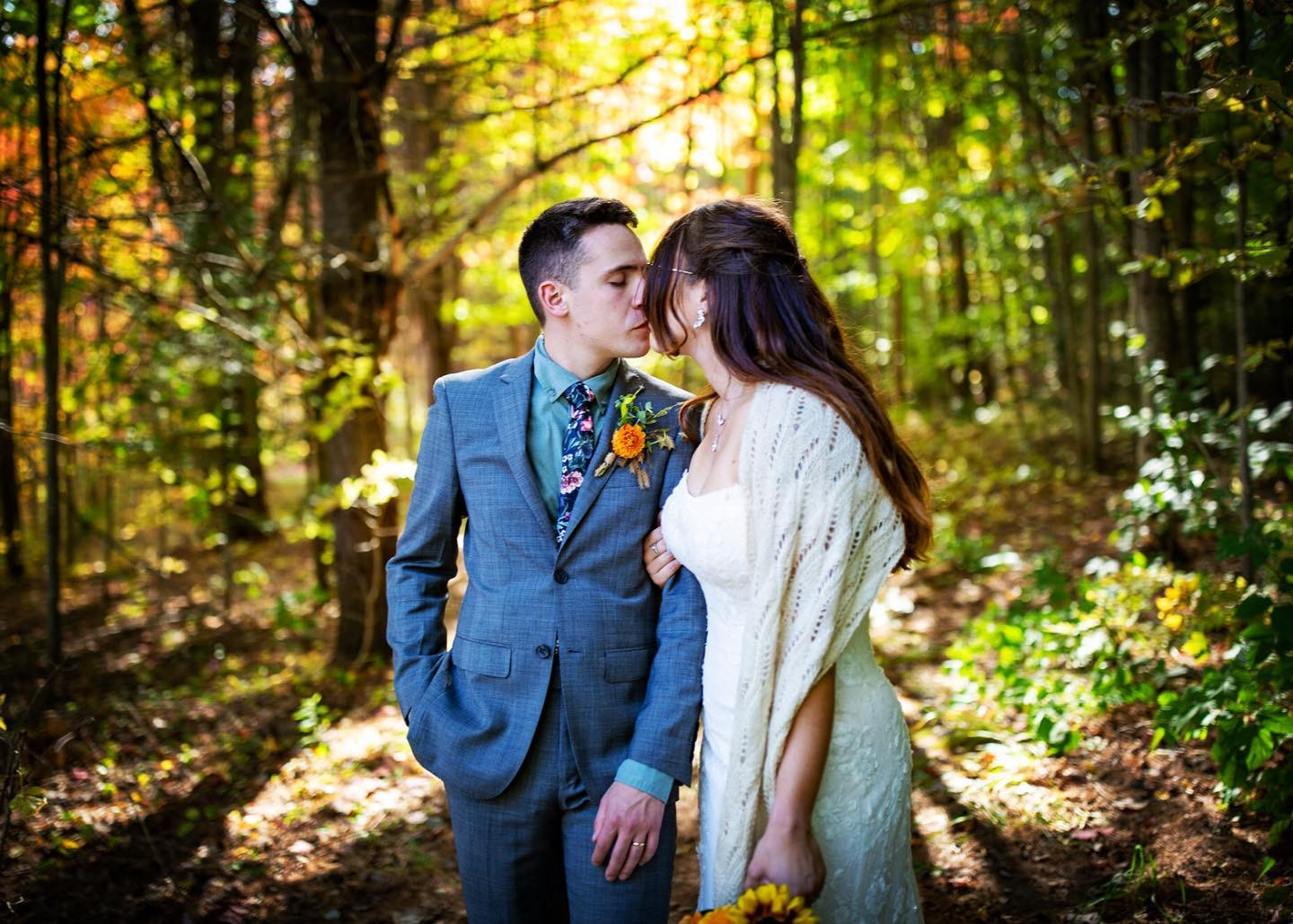 Vermont Bride and Groom Kiss