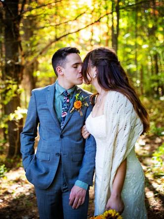 Vermont Bride and Groom Kissing Elopemen