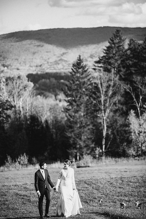 Bride and Groom in Vermont Black and Whi
