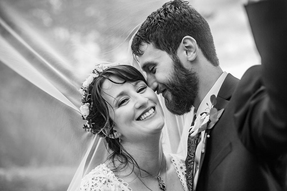 Vermont Bride and Groom Under Veil