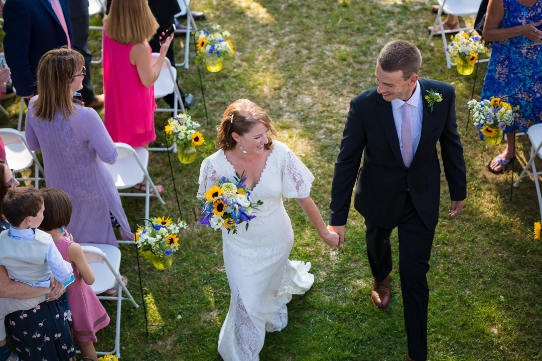 Vermont Bride and Groom Walking down Aisle
