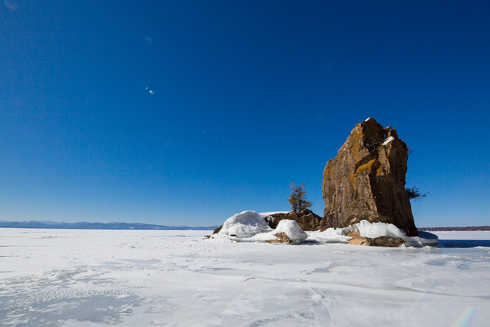 frozen lake, lake champlain, lone rock point, geology, vermont, new england, burlington