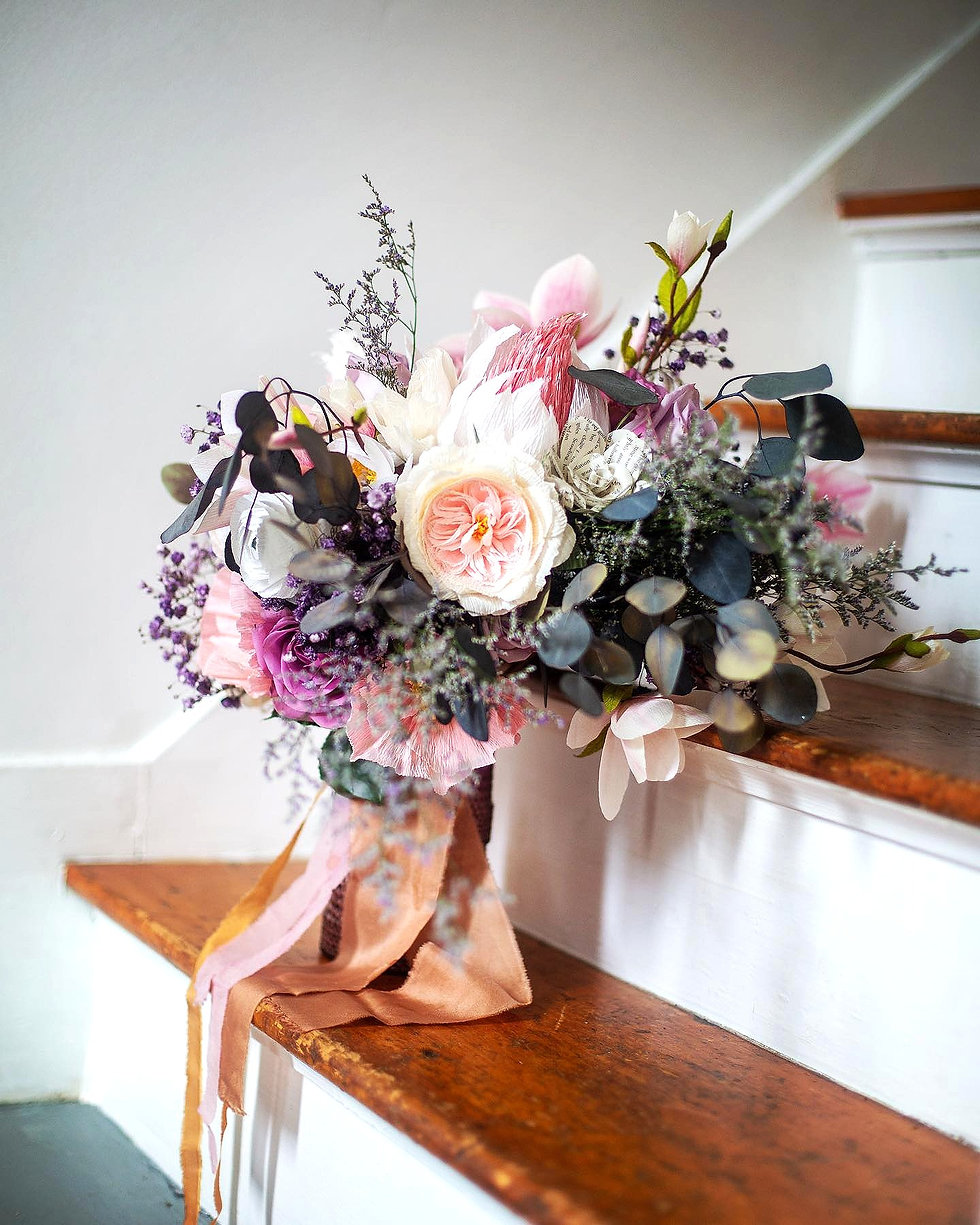 Pastel Paper Flower Bridal Bouquet on Wo