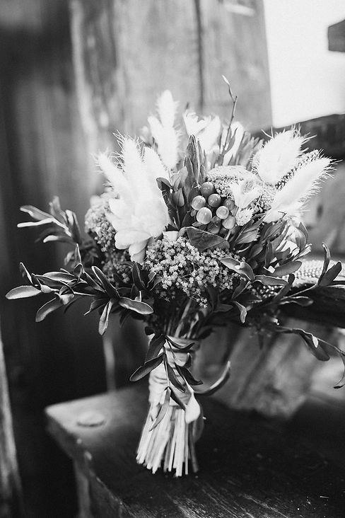 Bridal Bouquet Dried Flowers and Feather