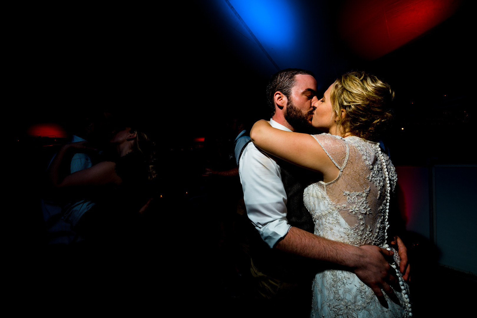 Vermont Bride and Groom Dancing Kissing