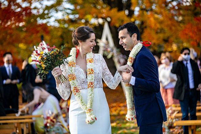 Vermont Autumn Wedding Bride and Groom.j