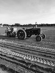Farm Tractor with hopper planting in field