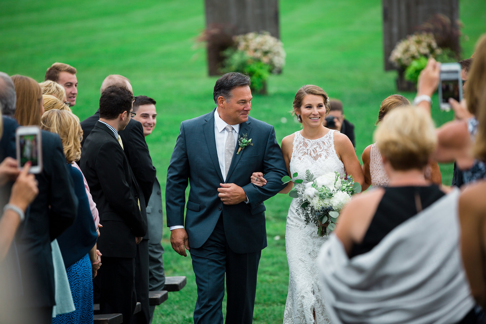 Vermont Bride and Dad Walking Down Aisle