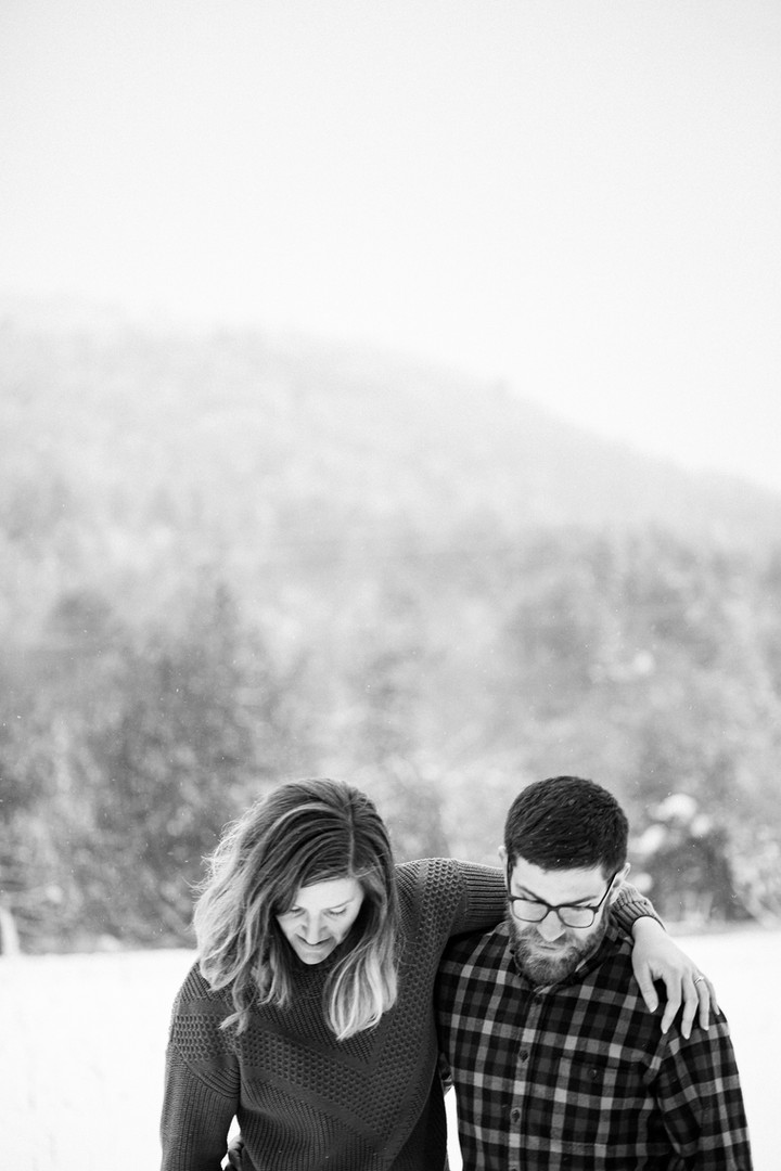 Vermont Winter Engagement Session Owl's
