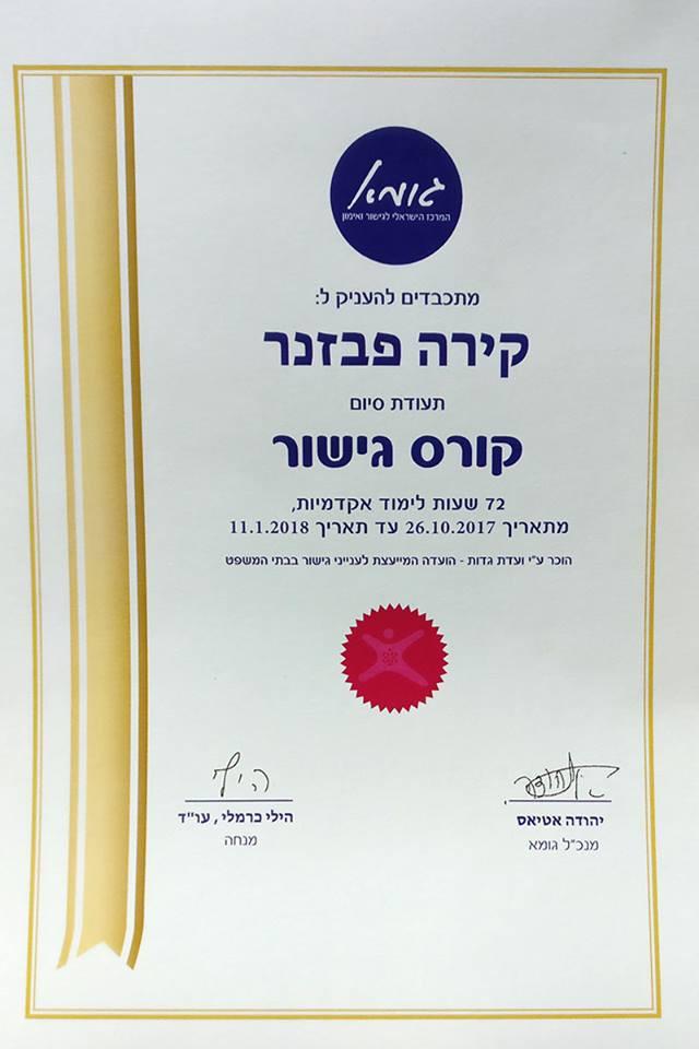 диплом курса медиации в Израиле, под эгидой юридической комиссии