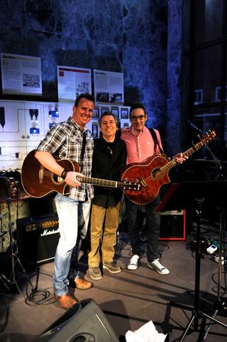 Phil Holmes, Claudio Provenzano und Gary Nuttall (Robbie Williams Band, Kylie Minogue etc.) nach dem gemeinsamen Workshop
