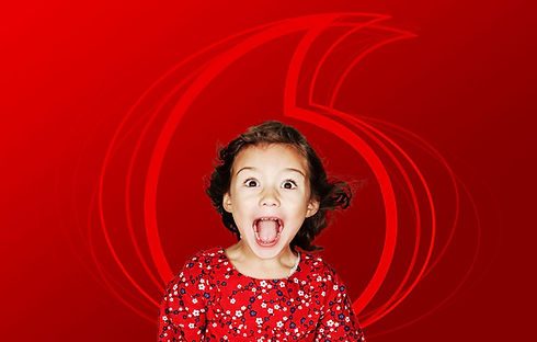 Little Girl Screaming in front of Vodafone logo background - Red Family