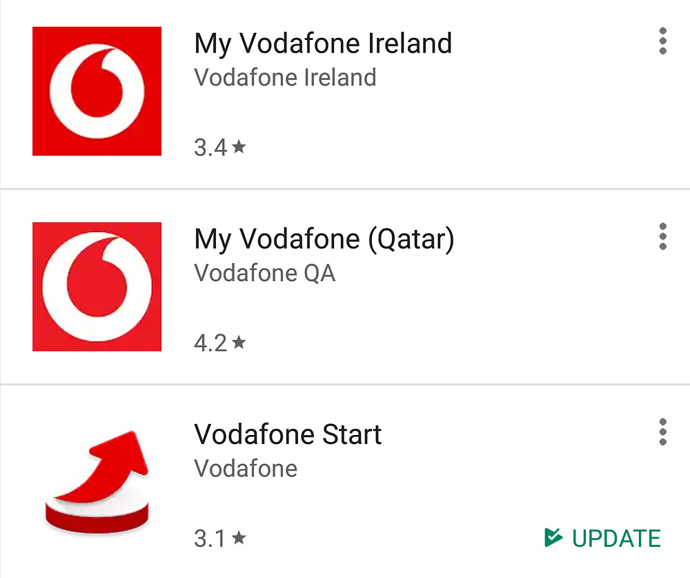 List of my Vodafone Ireland, my Vodafone Qatar and Vodafone Start Apps in Google Play store