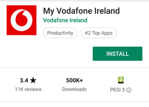 My Vodafone Ireland App download page in Google Play