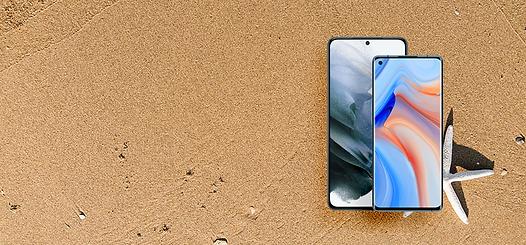 OPPO Reno4 Pro 5G and xiaomi redmi note 10 5g on sand