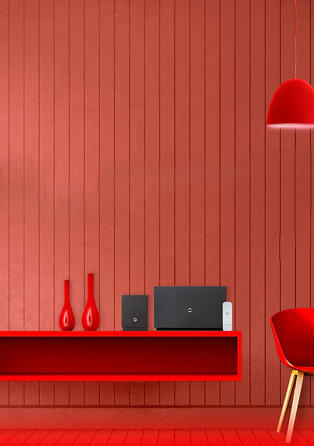 Vodafone black Gigabox modem infront of a red background with red chair and lights