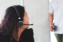 call centre staff with headset