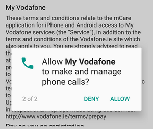 Allow My Vodafone to make and manage phone calls? App permissions