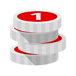 Red and grey stacked coin icon.png