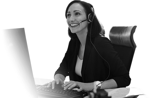 lady in Call centre at computer in black and white.png