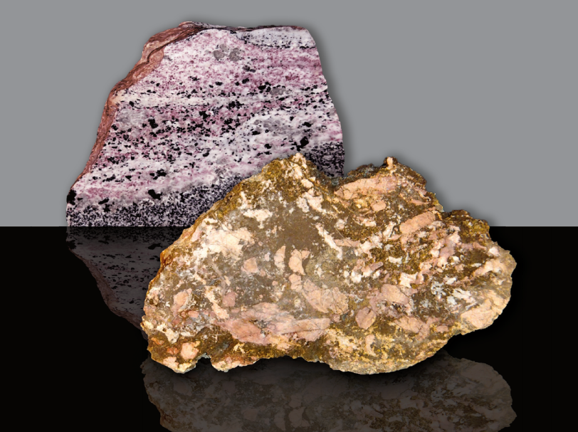 Two rare earth ore rocks from the cover of a USGS publication on Rare Earth Deposits- from: A Deposit Model for Carbonatite and Peralkaline Intrusion-Related Rare Earth Element Deposits