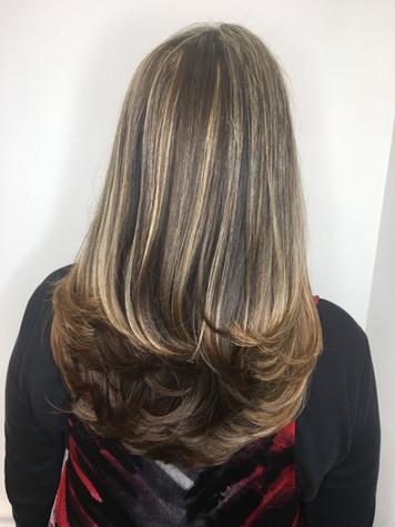 Long layered hair cut and style, highlights by Lisa Gordon